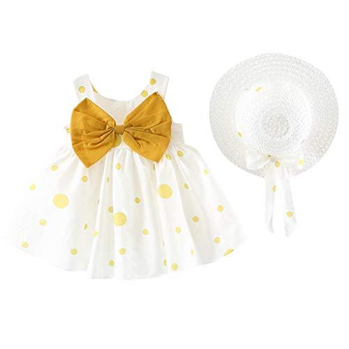 TEVEQ Girls Dresses Kids Summer Sleeveless O-Neck Print Floral Bow Princess Dress Yellow -