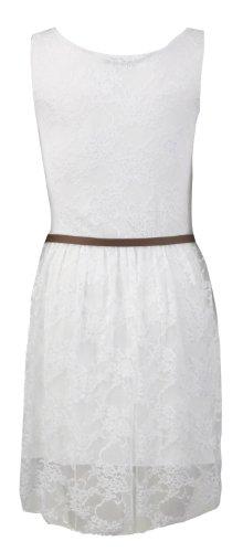Fast Fashion - Robe patineuse sans manche Florale - Dentelle et ceinture - Femme - 36/38 - Blanc