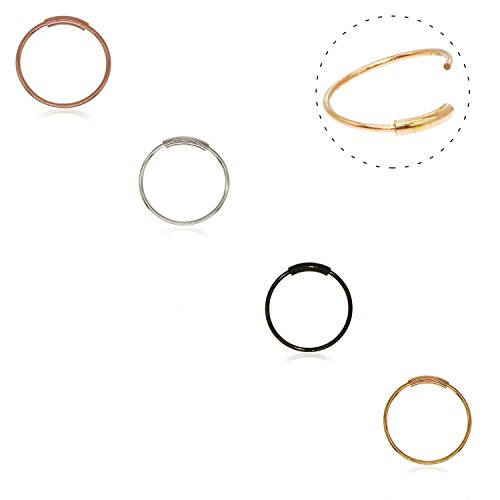 Septum Ring,316L Surgical Steel Seamless Continuous Hoop Rings Nose Tragus Lip Ear Piercing 4 Colors 20 Gauge 8MM,10MM (4PCS - 8mm Mix (Seamless Nose Ring)