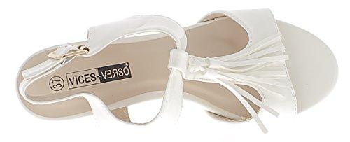 Sandales blanches vernies à petits talons épais de 6cm avec brides larges