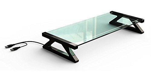 GENERAL ARMOR USB Hubs Designed Office Universal Clear Glass Computer Monitor Screen Riser - Home Desktop Organizer Shelf for Xbox One Printer (Glass)