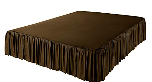 - Angel Bedding 3 Side Coverage Ruffle/Gathered Bed Skirt with 23 Inch Drop Length (Queen, Solid Chocolate) 1800 Series Brushed Microfiber - Covers Bed Legs and Frame