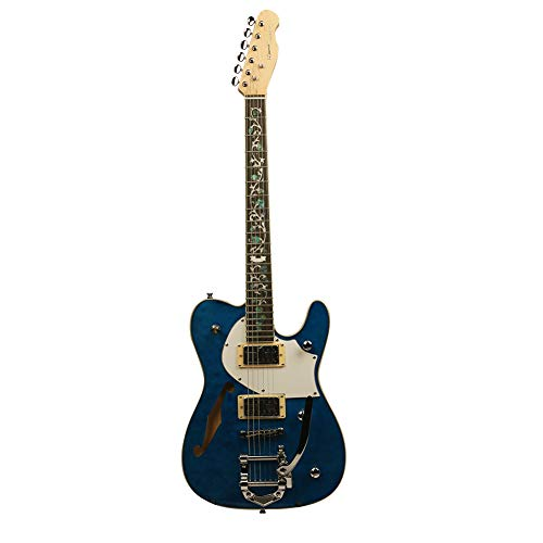 ZUWEI Semi-Hollow-Body Electric Guitar Custom Series – Maple Top & Canada Maple Neck, Silver Hardware Blue