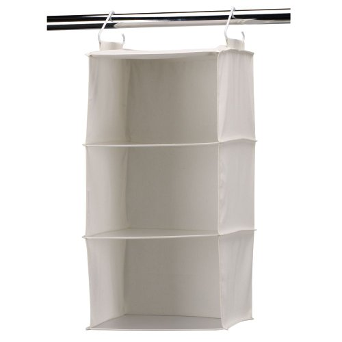 Household Essentials 3-Shelf Hanging Closet Organizer with Plastic Shelves, Natural Canvas
