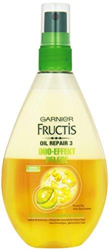 Garnier Fructis Duo-Effekt Pflege Oil Repair Haarkur / Intensiv Haaröl zum Sprühen ohne Ausspülen (mit wertvollen Natur-Ölen - für trockenes, strapaziertes Haar) 1er Pack - 150ml