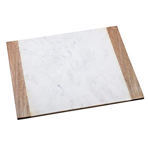 (Creative Home 74811 Natural Marble with Mango Wood Pastry Cheese Board, Serving Plate, 16
