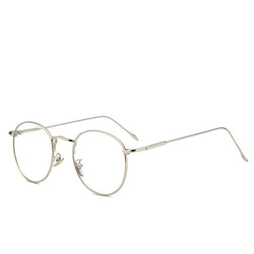 (Glasses, No Degree Male/female Round Glasses, Myopia Frame, Flat Goggles (Color : Silver))