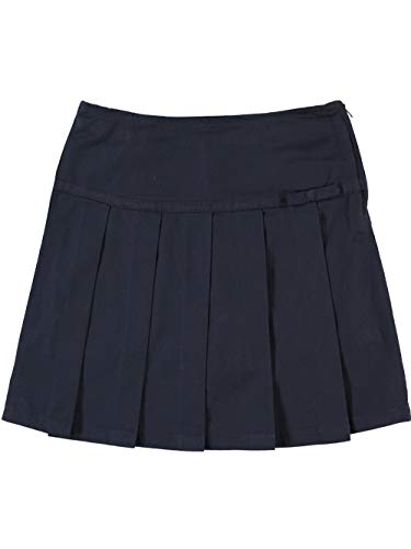 French Toast School Uniform Girls Pleated Scooter with Grosgrain Ribbon, Navy, 7 (Detail Pleated Skirt)