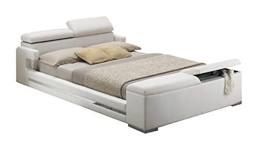 ACME Layla White Faux Leather Queen Bed with Storage