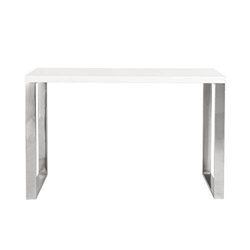 Euro Style Dillon High Gloss Lacquered Top Desk with Chromed Steel Base, White