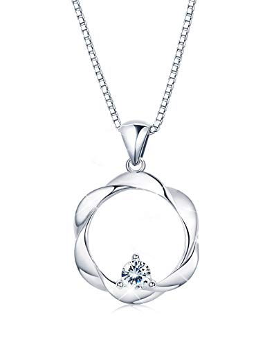 Sllaiss 925 Sterling Silver Necklace Hollow Pendant Cubic Zirconia For Womens Round-Cut CZ Necklace Jewelry Gift Chain 16'' (Zirconia Fashion Cubic 16' Necklace)