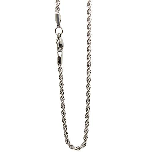 Davitu Hot Sale 18-32 Silver//Rose Gold//Gold//Black 316L Stainless Steel 2.4mm Twist Chain Pendant Necklace Jewelry for Women//Men Metal Color: 18 inches 45cm, Main Stone Color: Silver