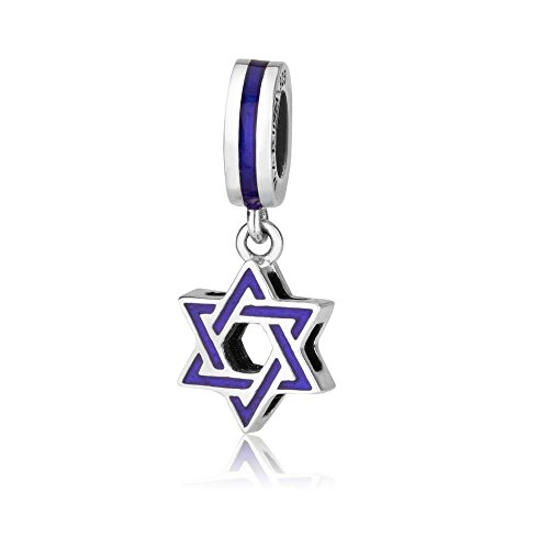 (Genuine 925 Sterling Silver and Enamel Dangle Pendant Charm for 3mm Necklace or Snake Chain Bracelet, Star of David)