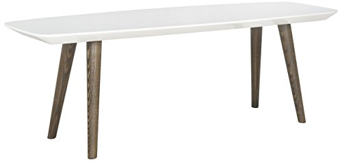 Safavieh Home Collection Josiah Mid-Century Modern White and Dark Brown Coffee Table