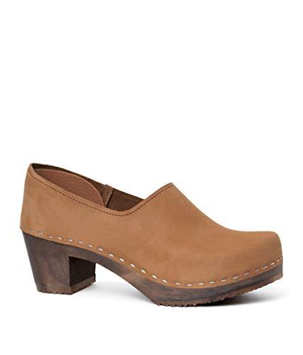 (Sandgrens Swedish High Heel Wooden Clogs for Women | Bridget Dexter Tan, EU 39)