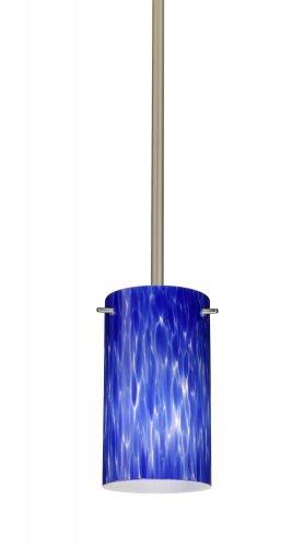 Besa Lighting 1TT-440486-SN 1X50W E12 Stilo 7 Pendant with Blue Cloud Glass, Satin Nickel Finish ()