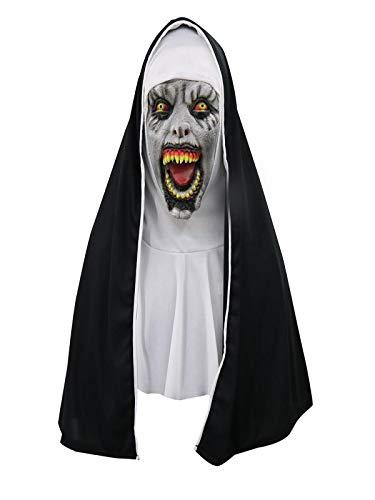 Sikye Cosplay Horrible Mask Melting Face Latex Mask Halloween Masquerade Party Decor (G (Nun))