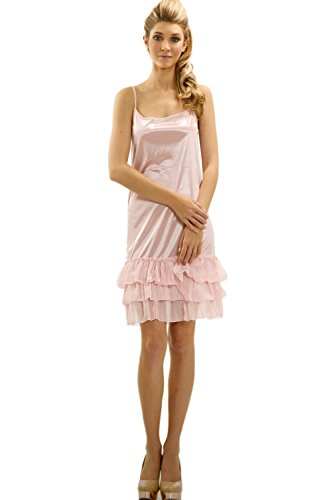 Slip Full Pink (Melody [Shop Lev] Women's Satin Full Slip With Three Layered Sheer Ruffles (Pink, X-Large))