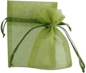 """AIEDE Garden Organza Favor Bags - 4""""x6"""" - MOSS GREEN - 30 Bags"""