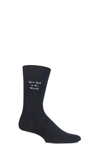 Mens 1 Pair SockShop New Individual Celebrations Embroidered Socks - 5 To Choose From Best Dad in the World! 12-14 Mens