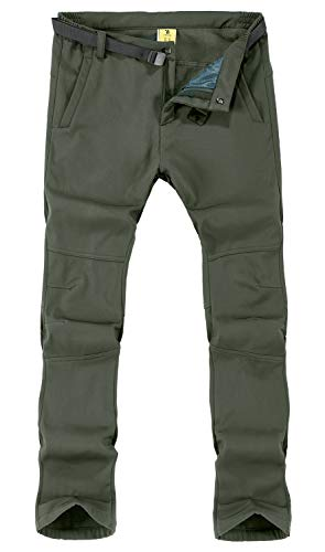 TBMPOY Men's Winter Water Resistant Fleece Lined Cargo Snow Hiking Pants(01 Thick Green,us M)