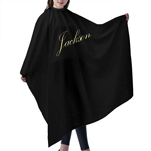 (ShowRoom16 Custom w/Name Adults Large XL Size Barber Hair Cutting Cape Salon Haircut Styling Shampoo Smock Cover Cloth with buckle closure 66 x 55 Inches Black)