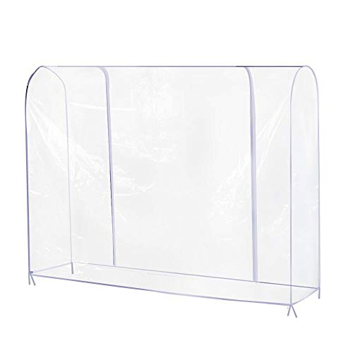 Growson Garment Rack Cover,6Ft TransparentDust Clothes Cover with Double Full-Length Front Zippers, Cover for Clothing Hanging Rack