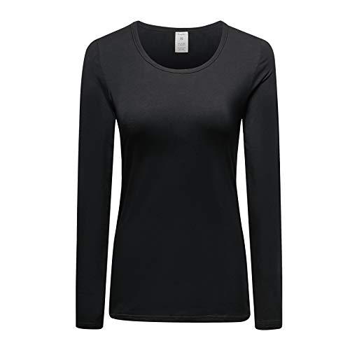 - OThread & Co. Women's Cotton Long Sleeve T-Shirt Scoop Neck Plain Basic Tee (Medium, Black)