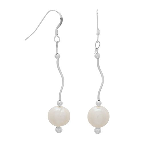 925 Sterling Silver Wave Design Tube with Cultured Freshwater Pearl French Wire (Cultured Freshwater Pearl French Wire)