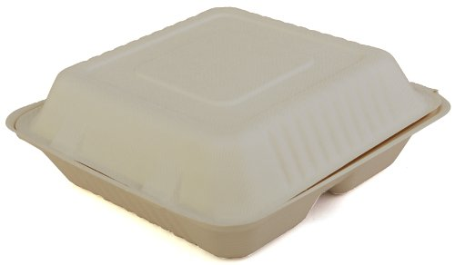 Southern-Champion-Tray-ChampWare-Molded-Fiber-White-3-Section-Clamshell-Container-Multiple-Sizes-Available