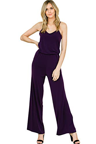 9d2e98be0e9 Annabelle Women s Sleeveless Full Length Wide Leg Flare Loose Relaxed  Jumpsuit Anthra Medium J8056