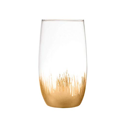Sedona Elegant Gold Set of 4 high Ball Dinner Glasses For Drinking Water Juice - Gold Highball Glass