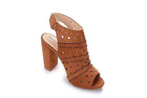 Chunky Bootie Heel Camel Peep Women's 7A Platform Toe Cut Laser Stacked Mila Lady Erin wZqpRp