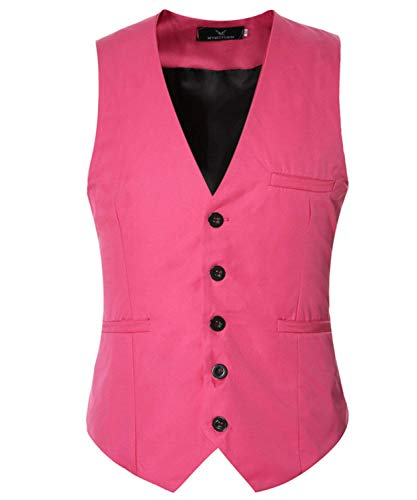 Solido Da Uomo Battercake Gilet Slim V shirt neck Maniche T Rosa Senza Business Fit Comodo qwHHgv1x