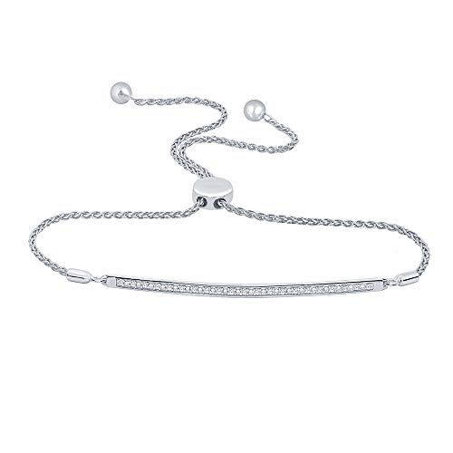 La Joya 1/10 ct Round White Natural Diamond 925 Sterling Silver Love Curve Bar Strand Bolo Bracelet for Women