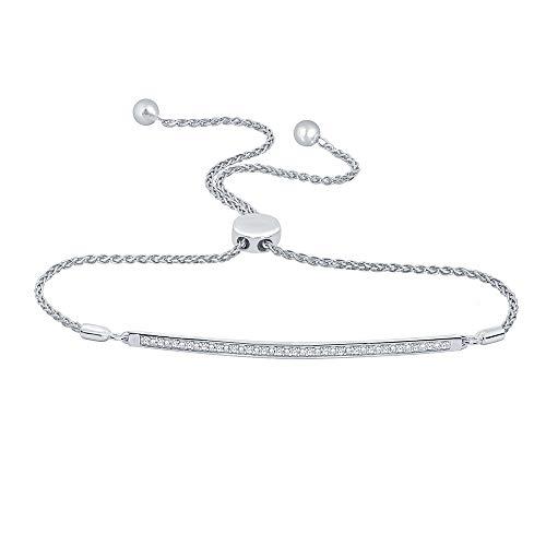 (La Joya 1/10 ct Round White Natural Diamond 925 Sterling Silver Love Curve Bar Strand Bolo Bracelet for)
