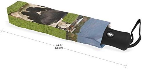 Akiraki 折りたたみ傘 レディース 軽量 ワンタッチ 自動開閉 メンズ 日傘 UVカット 遮光 牛 牛柄 富士山 かわいい 可愛い 折り畳み傘 晴雨兼用 断熱 耐強風 雨傘 傘 撥水加工 紫外線対策 収納ポーチ付き