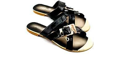 Adora Black Flat Sandal For Women