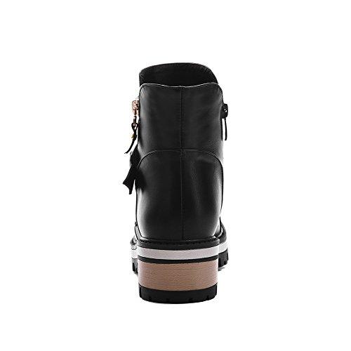 Zipper Boots AllhqFashion Black Toe Heels PU Kitten Solid Closed Round Womens wTqTfXS