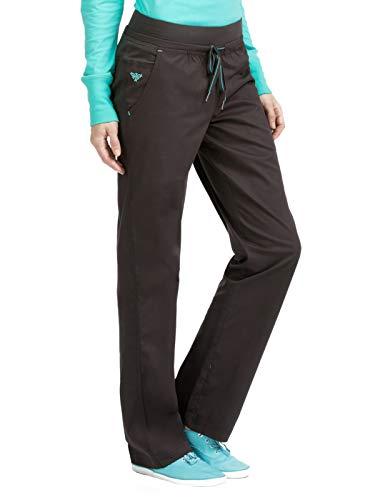 Med Couture Signature Women's Flex-It Yoga Drawstring Scrub Pant Charcoal/Aruba Blue SP -