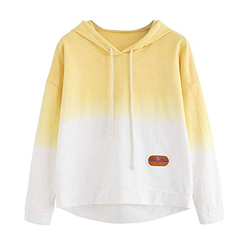 Ado Chemisier pour LULIKA T Sweat Imprim Sweatshirt Fille Longues Shirt Sweatshirts Causal Capuche Pull Femme Manches Sweat Jaune Patchwork FFE0O
