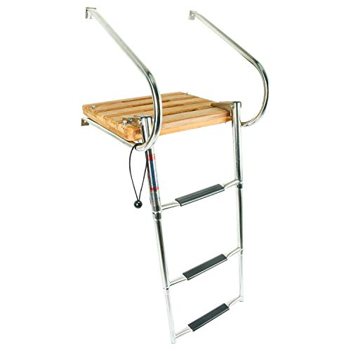 (YaeMarine 3 Steps Stainless Boat in-Board Folding Ladders with Swim Teak)