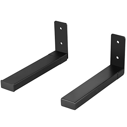 WALI Center Channel Speaker Wall Mount Dual Bracket Holder Stands, Hold up to 30 lbs, Arms Extend Adjustment from 7 to 11.5 inch (SLK201), Black