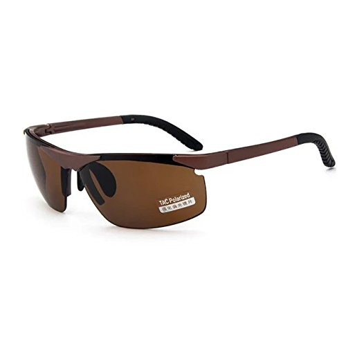Garrelett Outdoor Sports Driving Sunglasses Polarized Sun Eyeglasses Reflective Sun Eyewear Brown Lens Brown Frame for Men and - Round Cazal