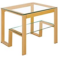 HOMES: Inside + Out Iohomes Davina Champagne Dual Glass Shelf End Table, Gold