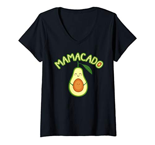 Womens Mamacado Avocado Pregnant Mom Pregnancy Announcement V-Neck