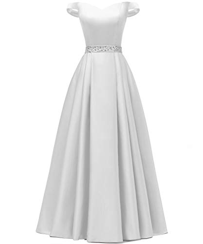 YORFORMALS Women's Off The Shoulder Beaded Satin Wedding Dress Long Formal Evening Gown with Pockets Size 10 White