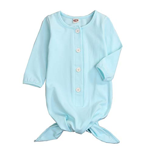 - Newborn Baby Boy Girl Sleeper Gowns,Unisex Striped Sleeping Bags Swaddle Sack Coming Home Outfit 0-10 Months Light Blue