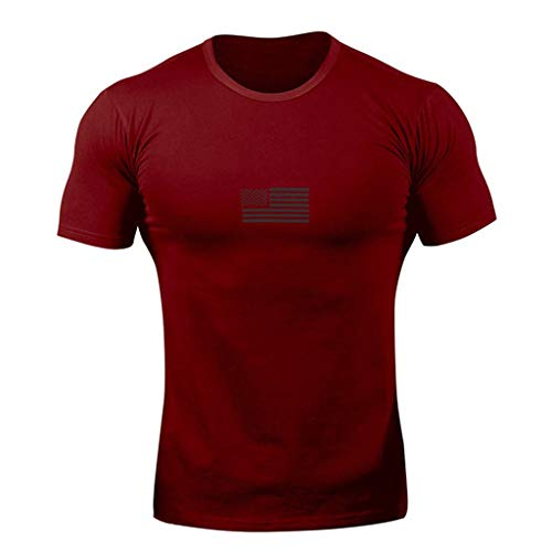 OrchidAmor 2019 Men's Solid Simple Striped Pattern Casual Comfy Fashion Lapel Short Sleeve Muscle Tank Top Shirt Red ()