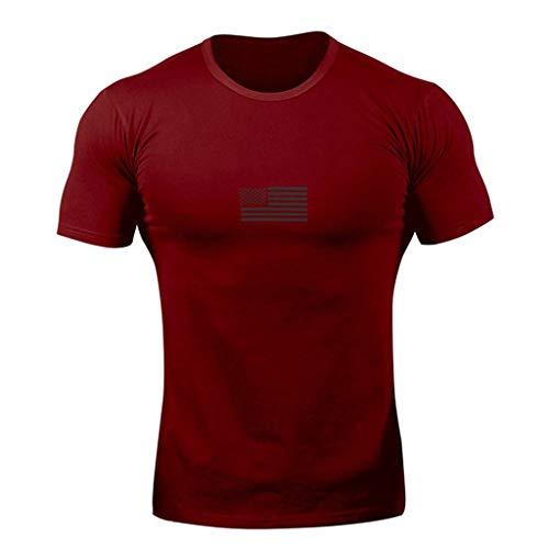- Men's Big T-Shirts, Beautyfine Short Sleeve Shirt Pure Color Striped Pattern Casual Lapel Red